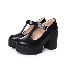 fashion women's round toe platform shoes t-strap chunky heel mary jane pumps