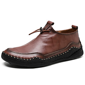 Men's Loafers  Slip-Ons Business / Classic / Casual Daily Outdoor Nappa Leather Breathable Non-slipping Wear Proof Black / Yellow / Brown Fall / British