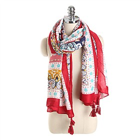 Women's Tassel / Active Rectangle Scarf - Floral Washable