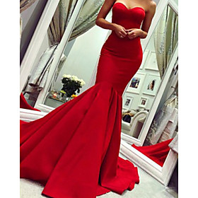 Mermaid / Trumpet Minimalist Sexy Wedding Guest Formal Evening Dress Strapless Sleeveless Court Train Satin with Pleats 2020