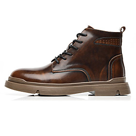 Men's Boots Casual Daily Leather Booties / Ankle Boots Black / Brown Fall
