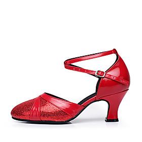Women's Modern Shoes Heel Cuban Heel PU Leather Glitter Red / Blue / Gold