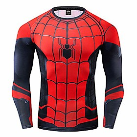 gym gala spiderman men's 3d printed compression sport fitness t-shirt (xxl, far from home)