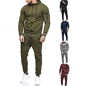 Men's 2-Piece Full Zip Tracksuit Sweatsuit Jogging Suit Long Sleeve Cotton Thermal Warm Breathable Quick Dry Fitness Gym Workout Running Active Training Bodybu