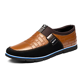 Men's Loafers  Slip-Ons Casual Daily Leather Wear Proof Black / Brown Color Block Spring / Fall