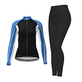 21Grams Women's Long Sleeve Cycling Jersey with Tights Winter Polyester Red Fuchsia Blue Stripes Bike Jersey Tights Clothing Suit Breathable Quick Dry Moisture