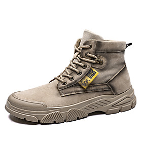 Men's Boots Classic / Vintage / British Outdoor Office  Career Canvas / Microfiber Non-slipping Wear Proof Black / Khaki / Beige Fall / Winter