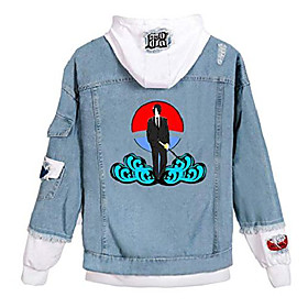 anime naruto denim hoodie jacket adult cosplay button down jeans coat b-white 5 m