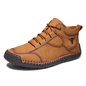 Men's Boots Casual Daily Outdoor Walking Shoes Faux Leather Wear Proof Booties / Ankle Boots Light Yellow / Black / Brown Fall / Winter