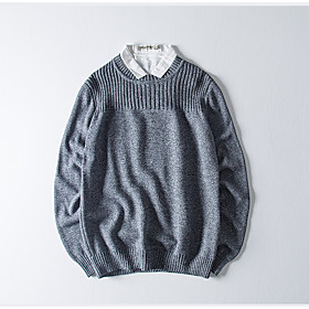 Men's Basic Knitted Solid Color Pullover Cotton Long Sleeve Sweater Cardigans Crew Neck Spring Fall Black Blue Red