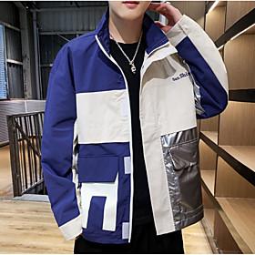 Men's Jacket Regular Color Block Daily Basic White Beige M L XL