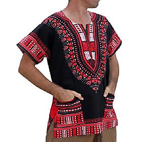 brand unisex bright african black dashiki cotton shirt, x-small, orange red on black