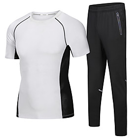 Men's 2-Piece Activewear Set Running T-Shirt With Pants Athletic Short Sleeve 2pcs Elastane Breathable Quick Dry Moisture Wicking Fitness Running Active Traini