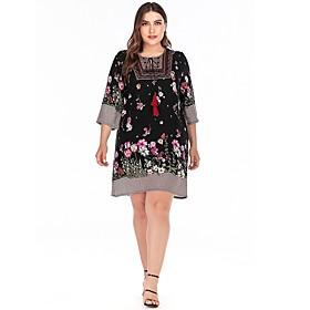 Women's A-Line Dress Knee Length Dress - 3/4 Length Sleeve Print Patchwork Print Fall Plus Size Casual 2020 Black XL XXL 3XL