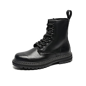 Men's Boots Casual Daily Leather Booties / Ankle Boots Black Fall