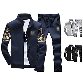 Men's 2-Piece Full Zip Tracksuit Sweatsuit Jogging Suit Casual Long Sleeve Front Zipper Thermal Warm Breathable Moisture Wicking Fitness Running Active Trainin