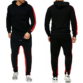 Men's 2-Piece Patchwork Tracksuit Sweatsuit Long Sleeve 2pcs Winter Thermal Warm Breathable Moisture Wicking Fitness Gym Workout Running Jogging Training Sport