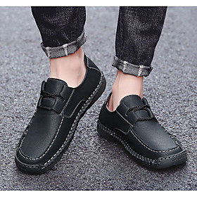 Men's Loafers  Slip-Ons Daily Walking Shoes Cowhide Wear Proof Black / Yellow / Khaki Spring / Fall