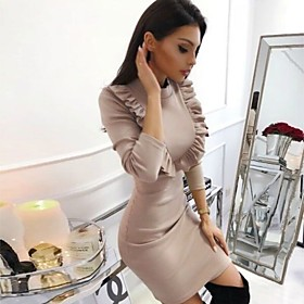 Women's Sheath Dress Short Mini Dress - Long Sleeve Solid Color Patchwork Winter Casual Slim 2020 Black Blue Wine Khaki S M L XL XXL