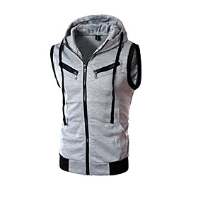 fashion men's summer casual hooded pure color t-shirt sleeveless hoodie tops brown