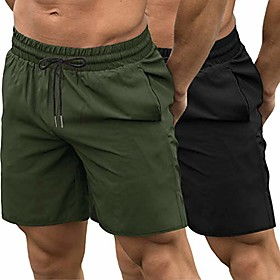 men's 2 pack gym workout shorts quick dry bodybuilding weightlifting pants training running jogger with pockets (black/olive green, xx-large)