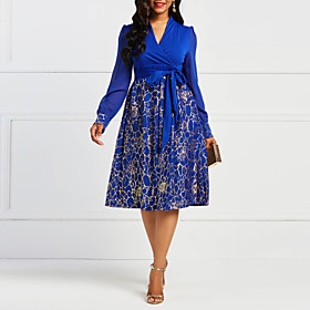Women's A-Line Dress Knee Length Dress - Long Sleeve Print Ruffle Ruched Patchwork Fall V Neck Elegant Party Slim 2020 Blue L