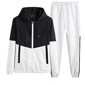 Men's Jacket Regular Color Block Daily Streetwear White Black Blue M L XL
