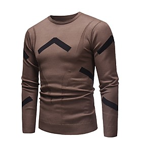 Men's Basic Knitted Color Block Pullover Long Sleeve Sweater Cardigans Crew Neck Fall Winter Black Brown Gray