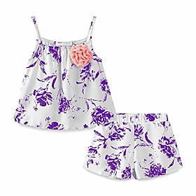 little girl short outfit linen flower size 5 purple Listing Date:09/19/2020