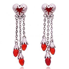 Women's Hoop Earrings Pear Cut Sweet Heart Punk Earrings Jewelry Red For Wedding Halloween Gift 2pcs