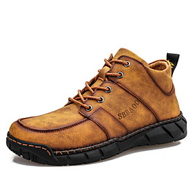 Men's Boots Casual Daily Outdoor Walking Shoes Leather Wear Proof Booties / Ankle Boots Light Yellow / Black / Khaki Fall / Winter