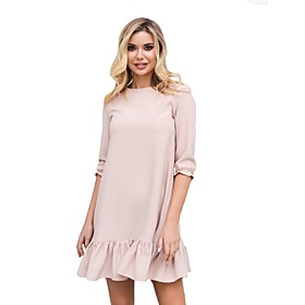 Women's A-Line Dress Short Mini Dress - 3/4 Length Sleeve Solid Color Ruffle Patchwork Spring Summer Casual Loose 2020 Red Blushing Pink Green S M L XL XXL