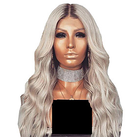 Synthetic Wig Curly Body Wave Middle Part Wig Long Silver grey Synthetic Hair Women's Fashionable Design Party Easy to Carry Silver