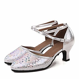 womens latin dance shoes closed toe ballroom dance shoes ankle strap ladies character party prom dancing pump silver