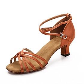 women's latin dance shoes satin salsa ballroom wedding dancing shoes 2.2 (6, brown)