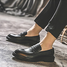 Men's Loafers  Slip-Ons Casual Daily PU Wear Proof Black / Brown / Gray Spring / Fall