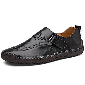 Men's Loafers  Slip-Ons Casual Daily Outdoor Walking Shoes Leather Wear Proof Black / Yellow / Burgundy Spring / Fall