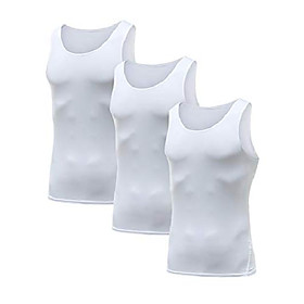 men's 3 packs sleeveless compression tank top,baselayer cool dry compression shirts(3white-xl)