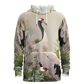 Men's Weekend Pullover Hoodie Sweatshirt Graphic Chinese Style Bird Hooded Casual Streetwear Hoodies Sweatshirts  Long Sleeve Beige