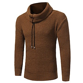 Men's Basic Knitted Solid Color Pullover Long Sleeve Sweater Cardigans Crew Neck Fall Winter Camel