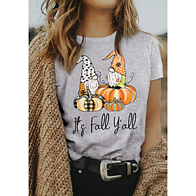 Women's Halloween T-shirt Graphic Prints Letter Pumpkin Print Round Neck Tops 100% Cotton Basic Halloween Basic Top Gray