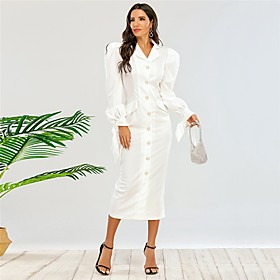 Women's Sheath Dress Midi Dress - Long Sleeve Solid Color Fall V Neck Elegant Puff Sleeve Slim 2020 White XS S M L XL