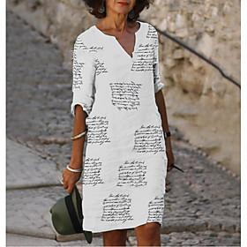 Women's A-Line Dress Knee Length Dress - Half Sleeve Letter Print Summer Fall V Neck Casual Going out Slim 2020 White S M L XL XXL 3XL 4XL