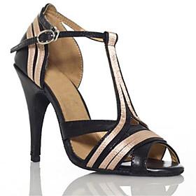 Women's Dance Shoes Latin Shoes / Ballroom Shoes / Line Dance Heel Buckle / Splicing Slim High Heel Black / Performance / Leather