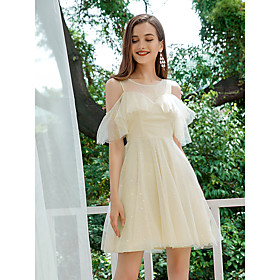 Women's A-Line Dress Short Mini Dress - Short Sleeve Solid Color Ruffle Spring Summer Casual Party Loose 2020 Beige S M L