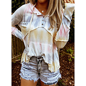 Women's Blouse Shirt Tie Dye Long Sleeve Patchwork Print Shirt Collar Tops Loose Basic Basic Top Yellow Blushing Pink