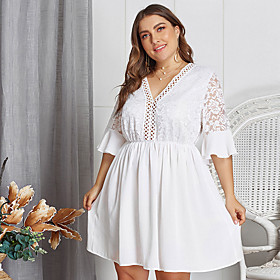 Women's A-Line Dress Knee Length Dress - Half Sleeve Solid Color Lace Ruched Mesh Summer V Neck Plus Size Sexy Slim 2020 White XL XXL 3XL 4XL