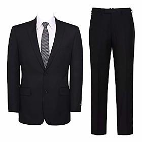 men's 2-piece suit slim fit formal single breasted 2 buttons blazer dress elegant jacket amp; pant black
