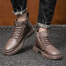 Men's Boots Sporty / British Athletic Daily Running Shoes / Walking Shoes Leather Breathable Shock Absorbing Black / Brown Fall