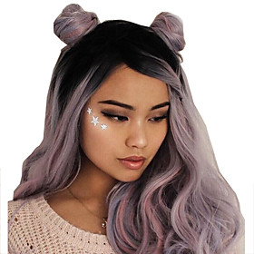 Synthetic Wig Loose Curl Pixie Cut Wig Long Black / Purple Synthetic Hair Women's Fashionable Design Soft Party Purple